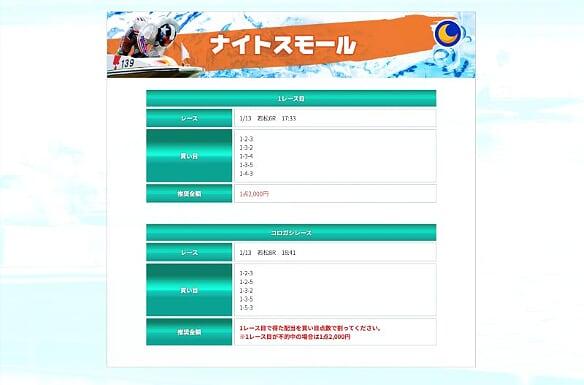 SIX BOAT(シックスボート)1月14日の有料プラン「ナイトスモール」公開情報