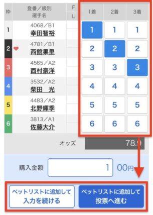 アプリ版テレボート投票ページ:投票画面(艇番選択画面)