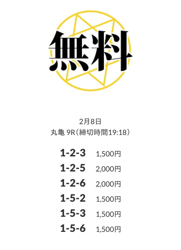 皇艇の無料予想:2月8日のナイターレース丸亀9R