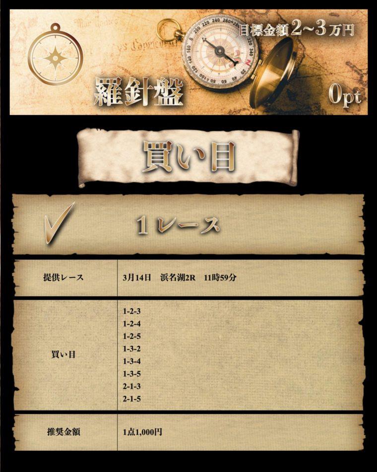 【無料予想検証】3月14日:浜名湖2R