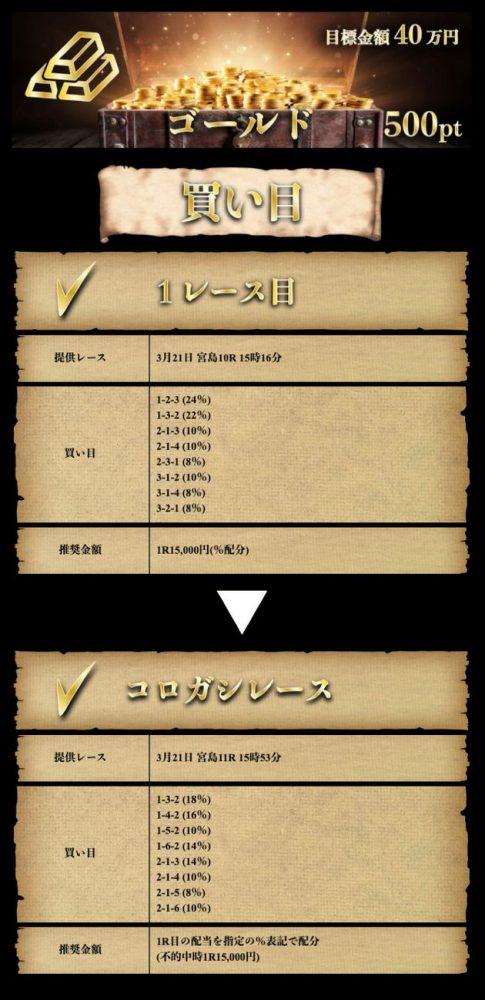 3月21日【ゴールド】:公開情報