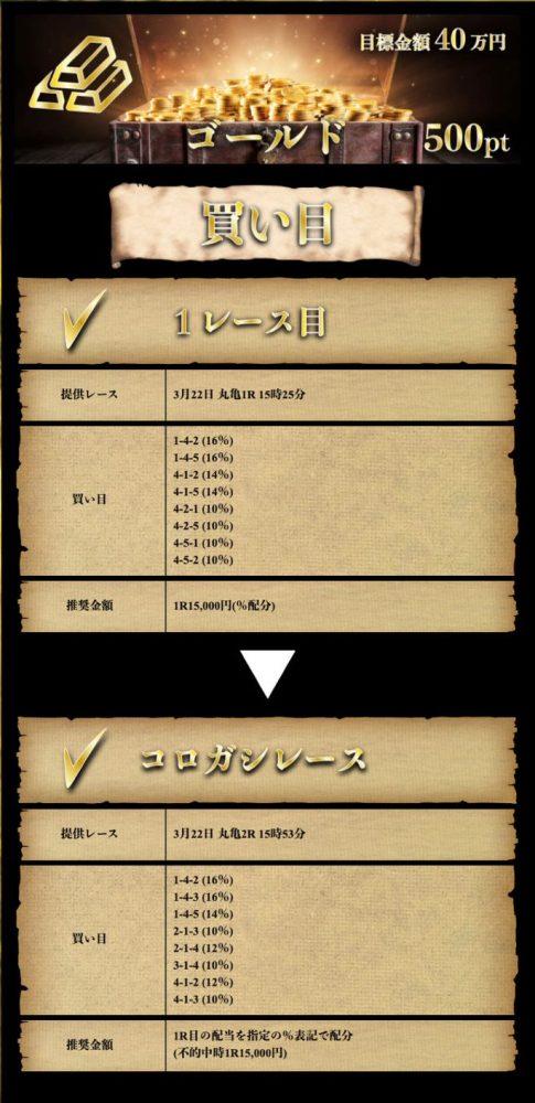 3月22日【ゴールド】:公開情報