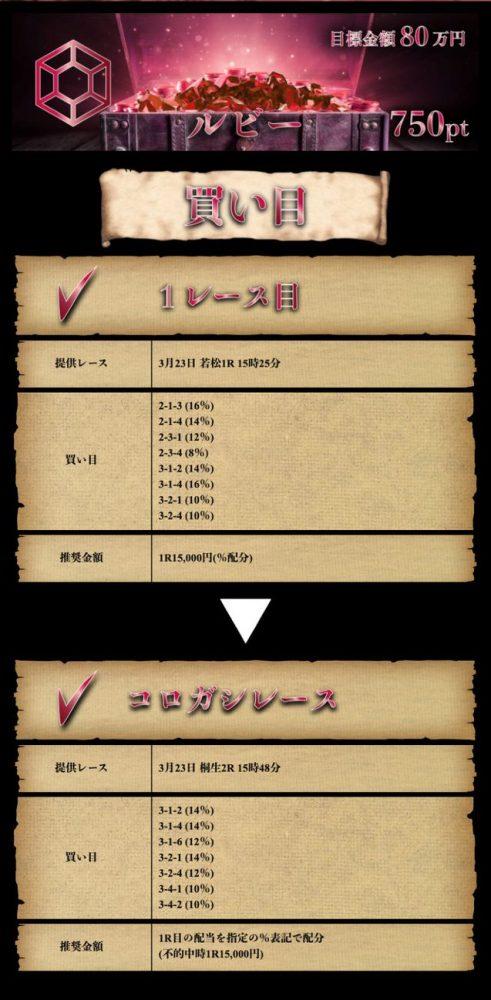 3月23日【ルビー】:公開情報